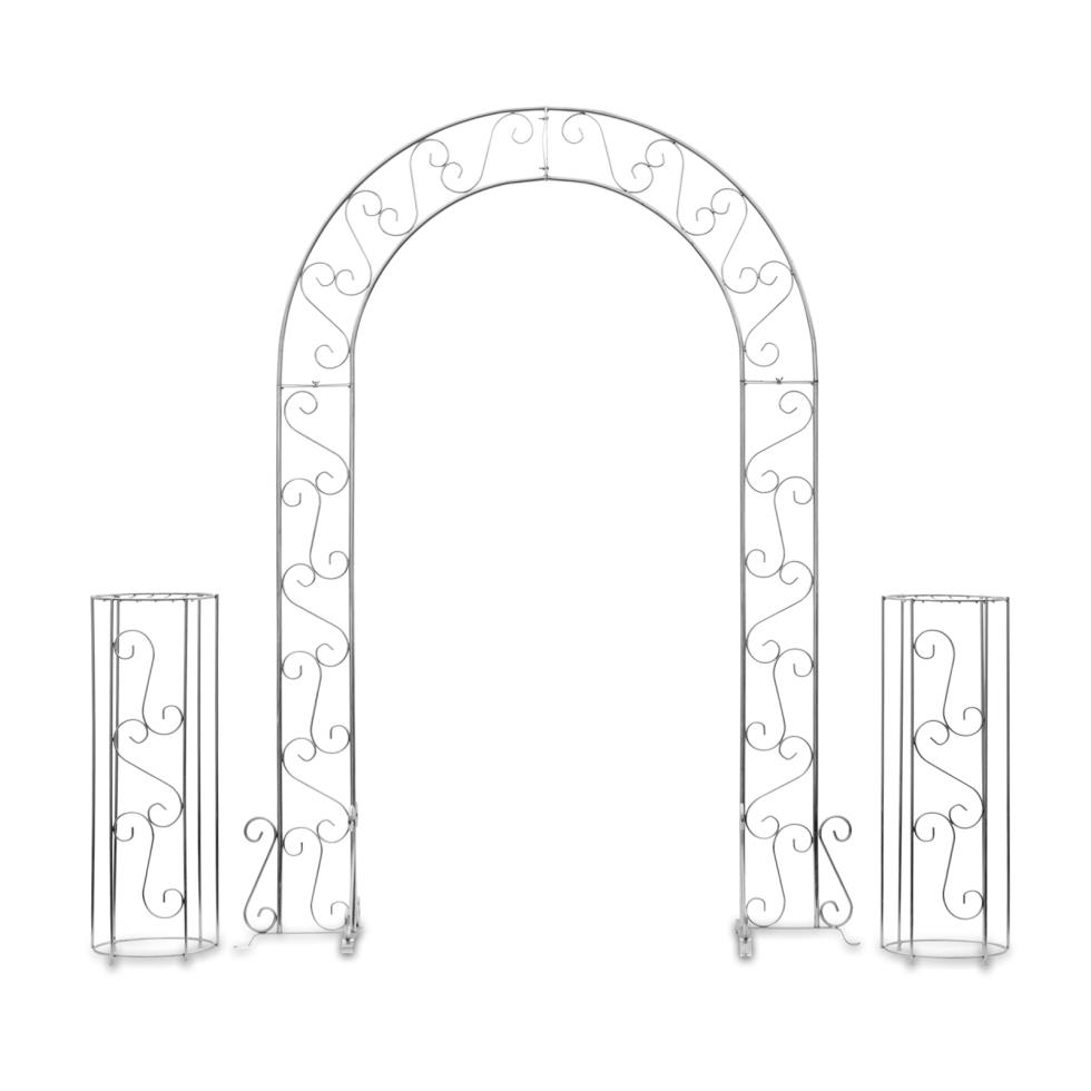 silver-wedding-arch-w-plant-stands