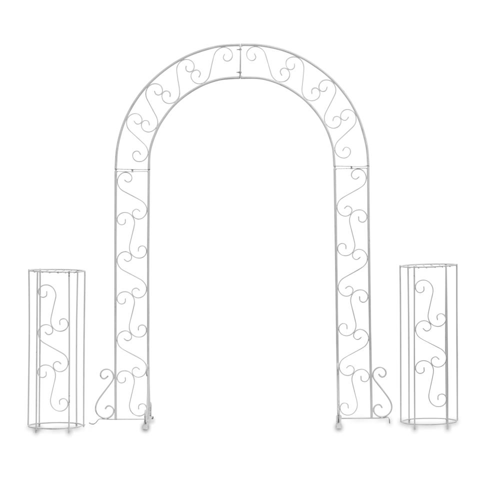 white-metal-wedding-arch-w-plant-stands